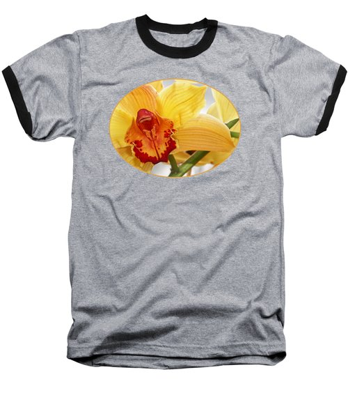 Golden Cymbidium Orchid Baseball T-Shirt by Gill Billington