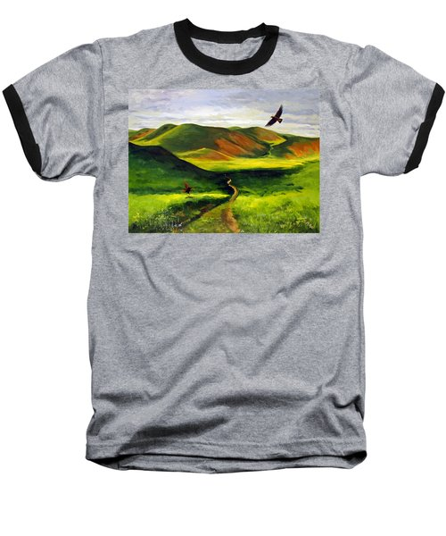 Golden Eagles On Green Grassland Baseball T-Shirt
