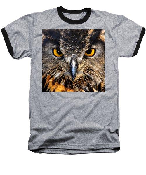 Golden Eyes - Great Horned Owl Baseball T-Shirt