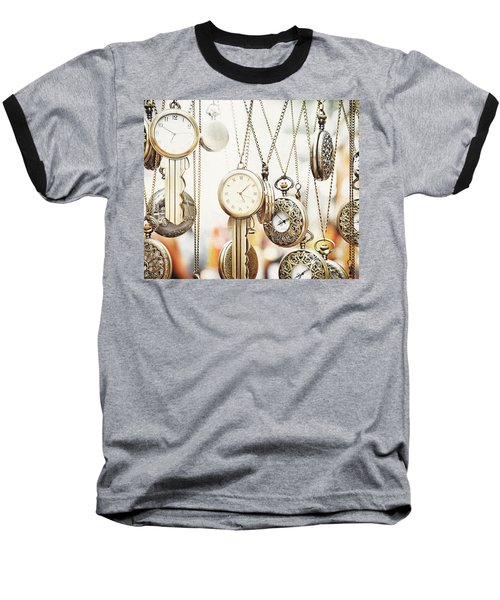 Golden Faces Of Time Baseball T-Shirt