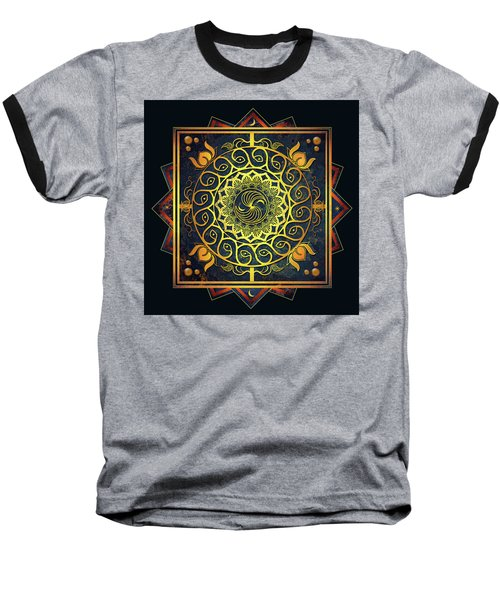 Golden Filigree Mandala Baseball T-Shirt by Deborah Smith