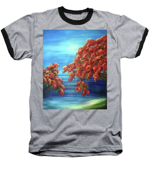 Golden Flame Tree Baseball T-Shirt