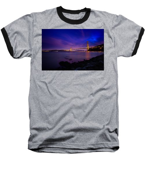 Golden Gate Bridge At Night Baseball T-Shirt