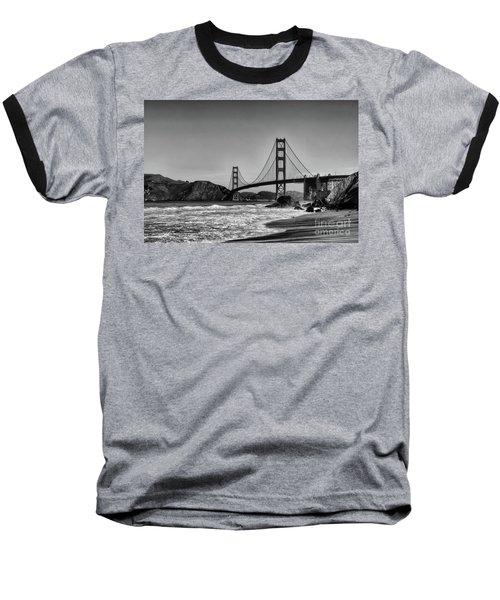 Golden Gate Bridge Black And White Baseball T-Shirt by Peter Dang