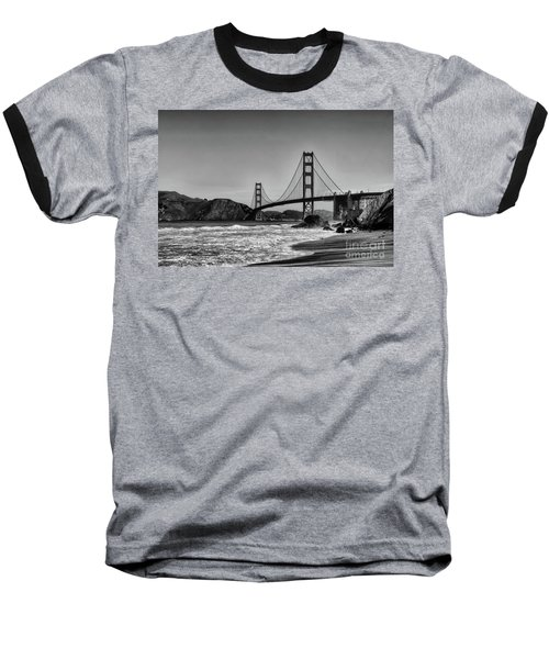 Golden Gate Bridge Black And White Baseball T-Shirt