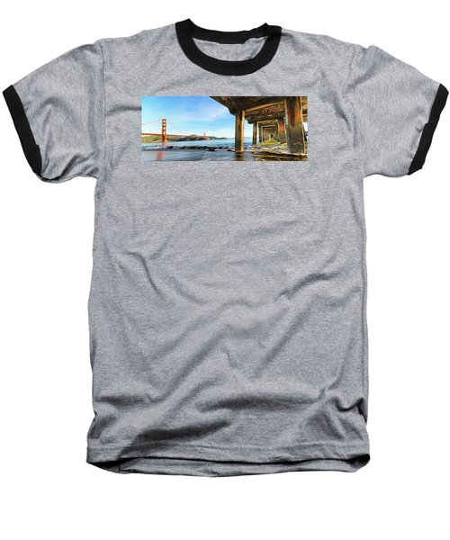 Baseball T-Shirt featuring the photograph Golden Gate Bridge From Under Fort Point Pier by Steve Siri