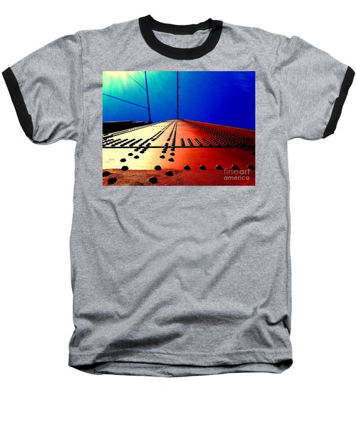 Golden Gate Bridge In California Rivets And Cables Baseball T-Shirt by Michael Hoard