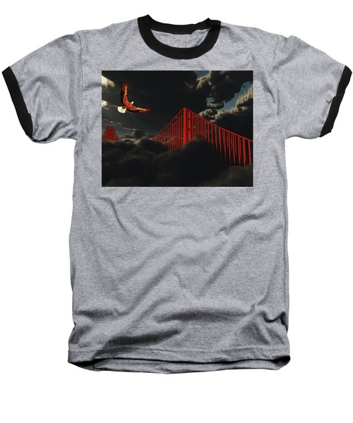Golden Gate Bridge In Heavy Fog Clouds With Eagle Baseball T-Shirt