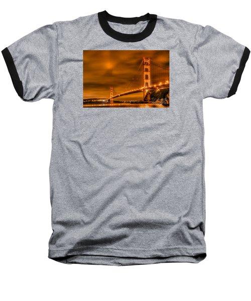 Golden Gate Bridge - Nightside Baseball T-Shirt by Jim Carrell