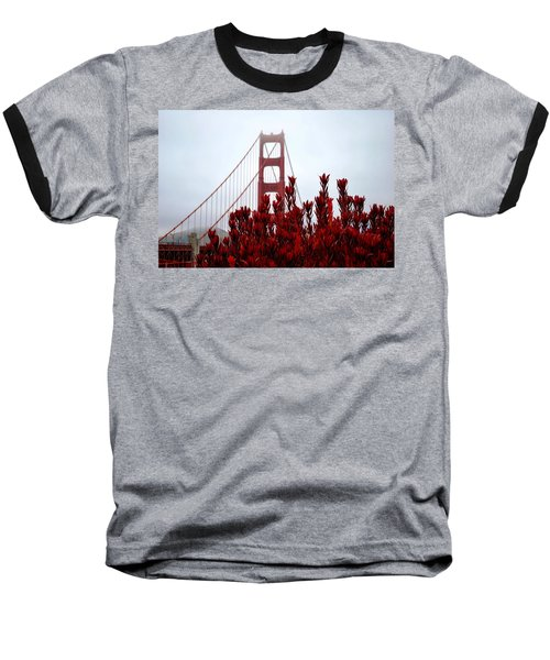 Golden Gate Bridge Red Flowers Baseball T-Shirt