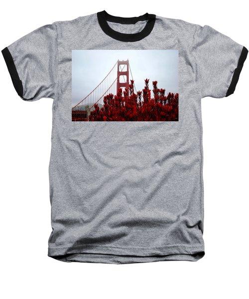 Golden Gate Bridge Red Flowers Baseball T-Shirt