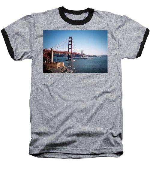 Golden Gate Bridge With Aircraft Carrier Baseball T-Shirt