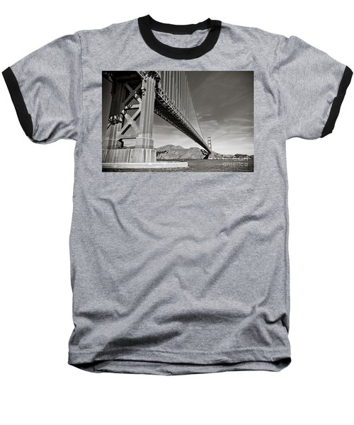Golden Gate From The Water - Bw Baseball T-Shirt by Darcy Michaelchuk