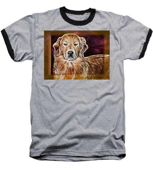 Baseball T-Shirt featuring the photograph Golden Glowing Retriever by EricaMaxine  Price