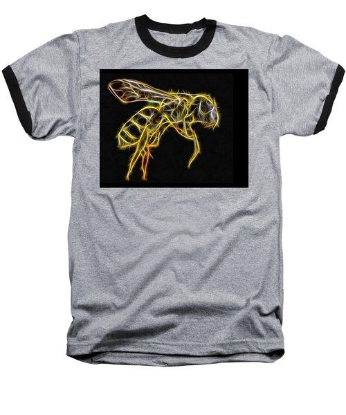 Golden Honey Bee Fractalized Baseball T-Shirt