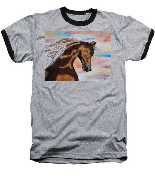 Baseball T-Shirt featuring the painting Golden Horse by Melita Safran