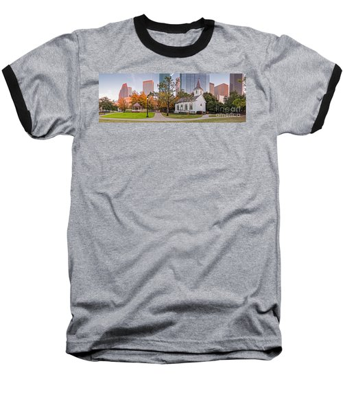 Golden Hour Fall Panorama Of Downtown Houston And St. John Church At Sam Houston Park - Texas Baseball T-Shirt