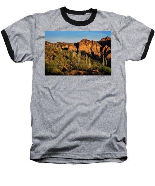 Baseball T-Shirt featuring the photograph Golden Hour On Saguaro Hill  by Saija Lehtonen