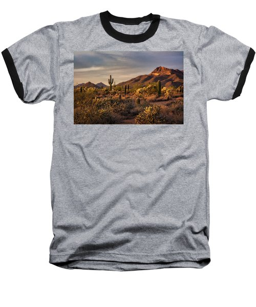 Baseball T-Shirt featuring the photograph Golden Hour On The Usery  by Saija Lehtonen