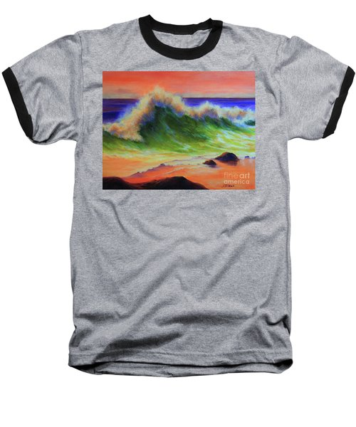 Golden Hour Sea Baseball T-Shirt by Jeanette French