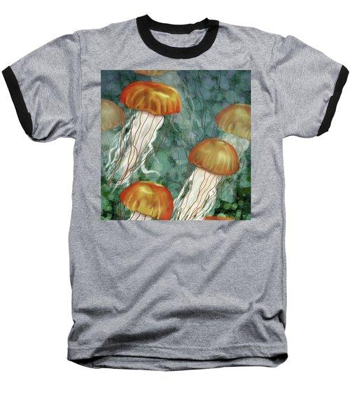 Golden Jellyfish In Green Sea Baseball T-Shirt