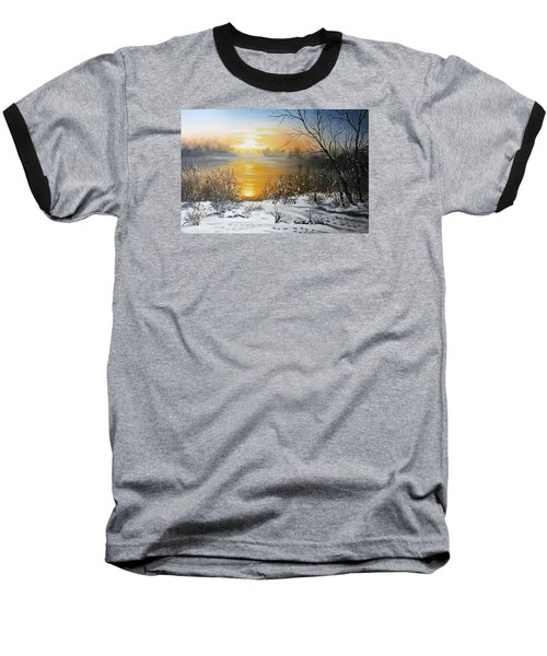Golden Lake Sunrise  Baseball T-Shirt by Vesna Martinjak