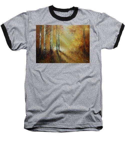 Golden Light In Autumn Woods Baseball T-Shirt