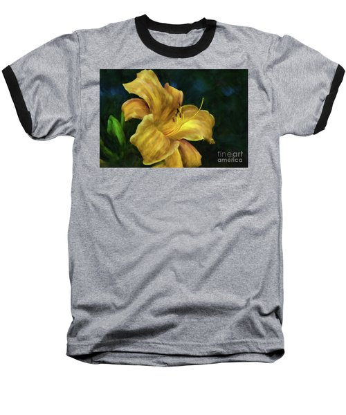 Baseball T-Shirt featuring the digital art Golden Lily by Lois Bryan