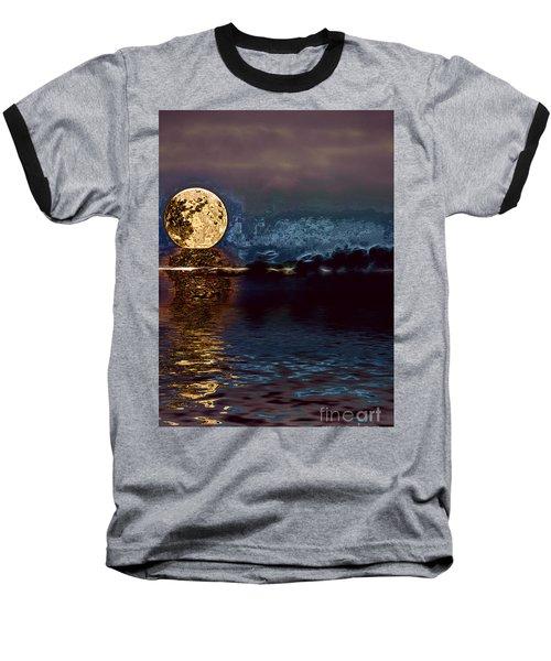 Golden Moon Baseball T-Shirt by Elaine Hunter