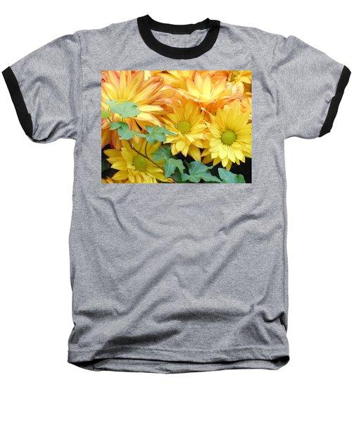 Golden Mums And Ivy Baseball T-Shirt
