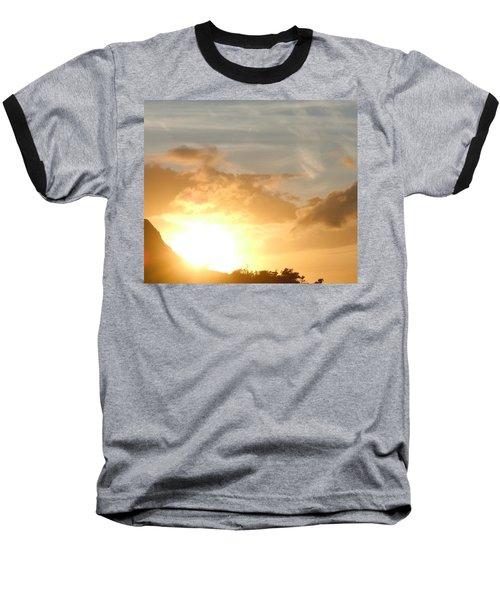 Golden Oahu Sunset Baseball T-Shirt by Karen J Shine