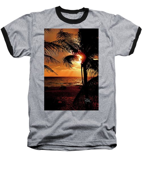 Golden Palm Sunrise Baseball T-Shirt