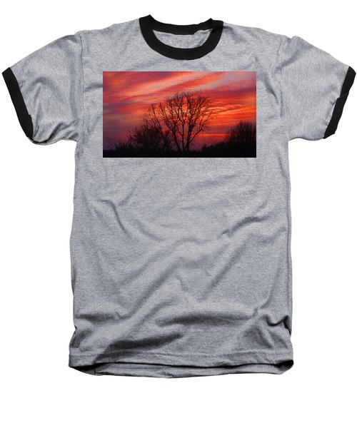Baseball T-Shirt featuring the digital art Golden Pink Sunset With Trees by Shelli Fitzpatrick