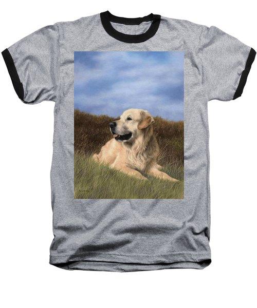 Golden Retriever Painting Baseball T-Shirt by Rachel Stribbling