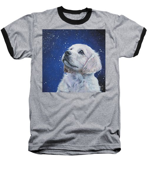 Golden Retriever Pup In Snow Baseball T-Shirt