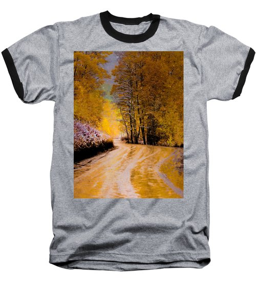 Baseball T-Shirt featuring the photograph Golden Road by Kristal Kraft