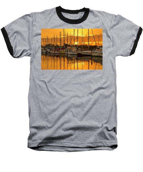 Golden Sailboat Sunrise Over Stuart Marina, Florida Baseball T-Shirt