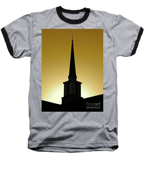 Baseball T-Shirt featuring the photograph Golden Sky Steeple by CML Brown