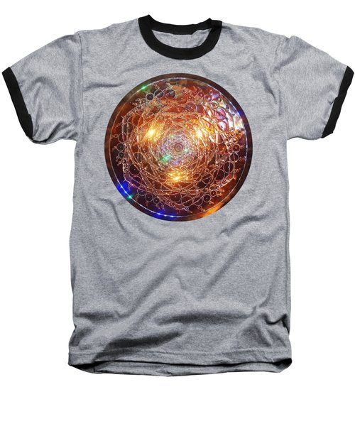 Baseball T-Shirt featuring the sculpture Golden Spiral Copper Lightmandala by Robert Thalmeier