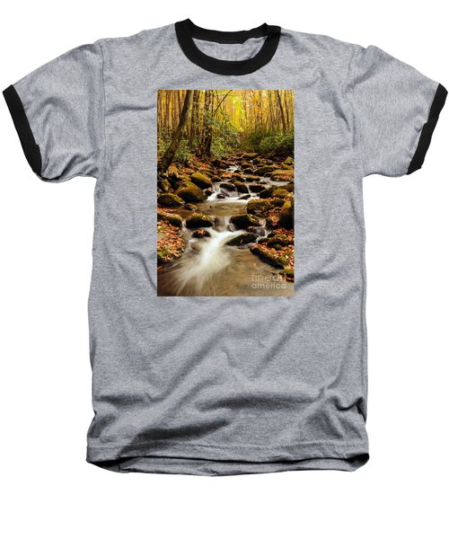 Baseball T-Shirt featuring the photograph Golden Stream In The Great Smoky Mountains by Debbie Green