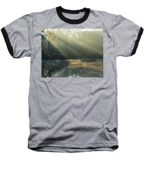 Golden Sun Rays Baseball T-Shirt by George Randy Bass