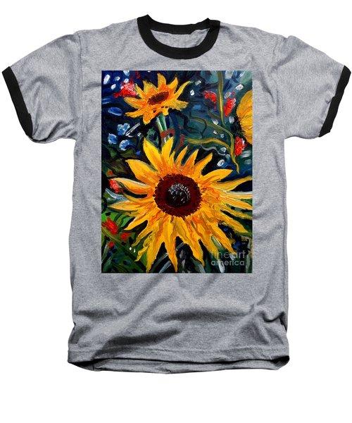 Golden Sunflower Burst Baseball T-Shirt