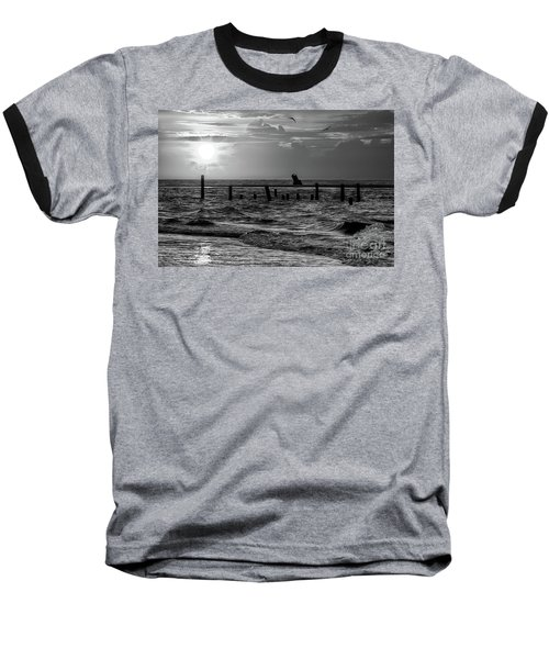 Baseball T-Shirt featuring the photograph Golden Sunrise On The Outer Banks  Bw by Dan Carmichael