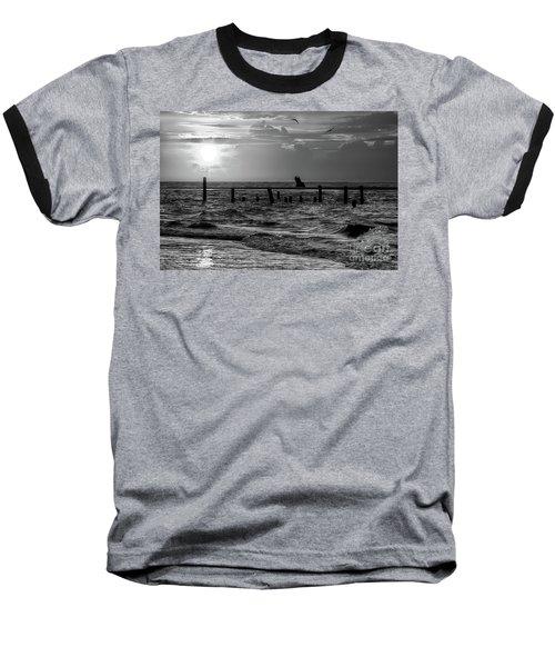 Golden Sunrise On The Outer Banks  Bw Baseball T-Shirt by Dan Carmichael