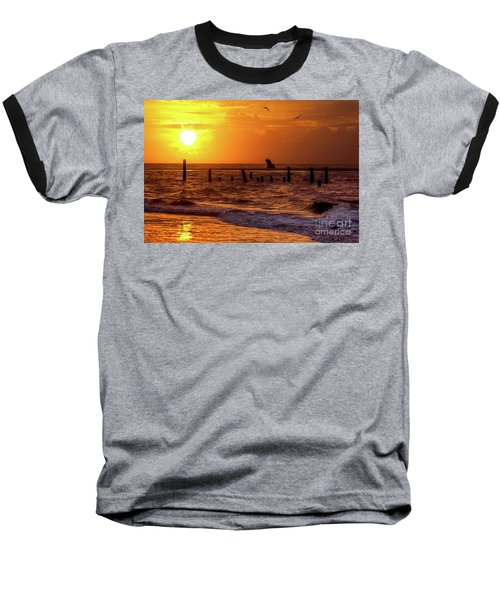 Baseball T-Shirt featuring the photograph Golden Sunrise On The Outer Banks by Dan Carmichael