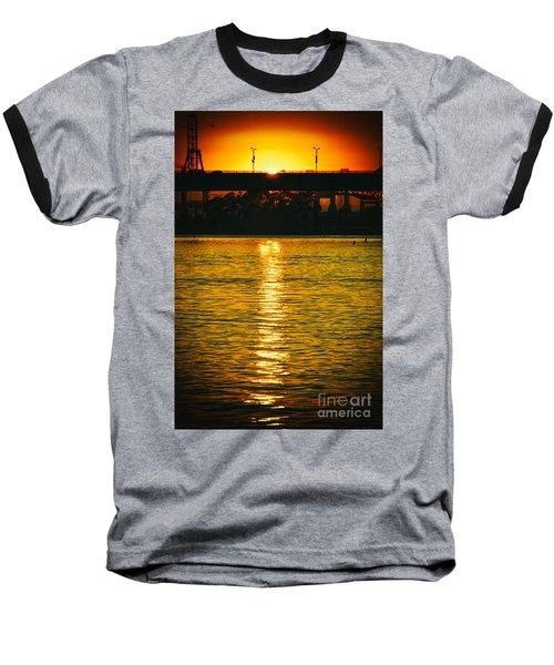 Baseball T-Shirt featuring the photograph Golden Sunset Behind Bridge by Mariola Bitner