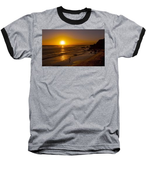 Baseball T-Shirt featuring the photograph Golden Sunset Walk On Malibu Beach by Jerry Cowart