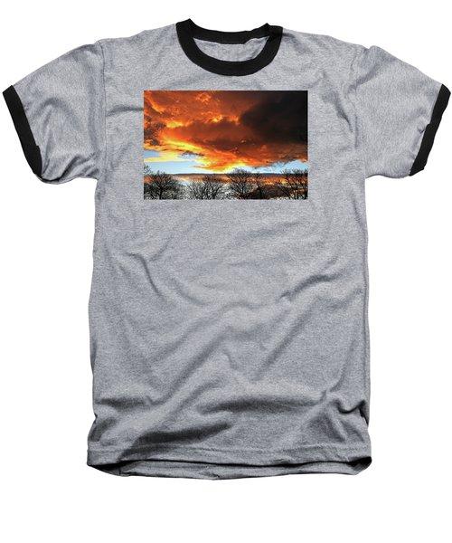 Golden Sunset With Filigree Trees Baseball T-Shirt