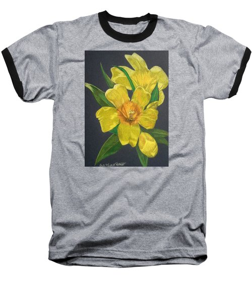 Golden Trumpet Flower - Allamanda Vine Baseball T-Shirt by Anita Putman