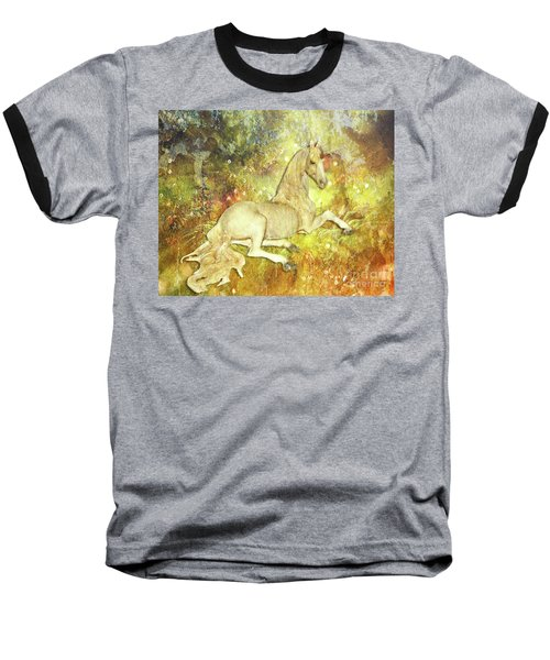 Golden Unicorn Dreams Baseball T-Shirt